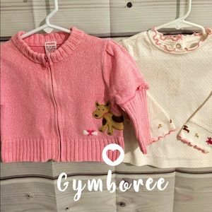 Gymboree pink marbled knit sweater & dog dot top